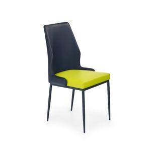 Jídelní židle K199 limetková / černá Halmar