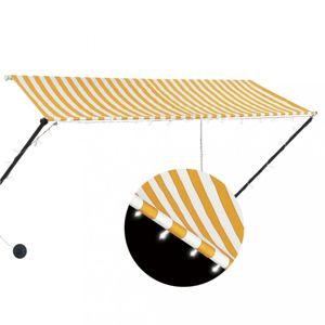 Zatahovací markýza s LED světlem 300x150 cm Dekorhome Bílá / žlutá