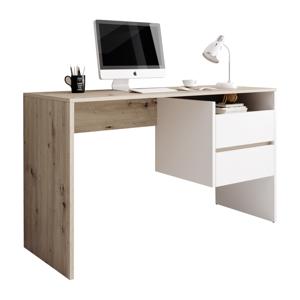 PC stůl se zásuvkami TULIO Tempo Kondela Bílá / dub
