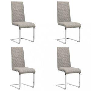 Konzolové jídelní židle 4 ks umělá kůže / kov Dekorhome Světle šedá