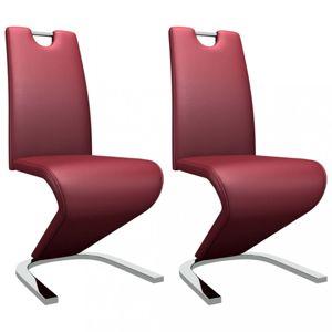 Jídelní židle 2 ks umělá kůže / chrom Dekorhome Vínová