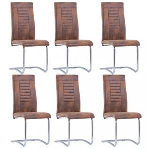 Konzolové židle 6 ks umělá kůže Dekorhome Hnědá