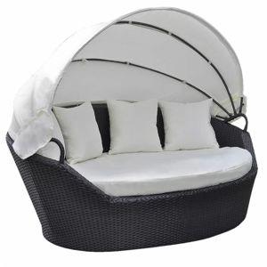 Zahradní ratanová postel s baldachýnem Černá
