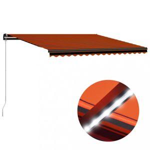 Ručně zatahovací markýza s LED světlem 400 x 300 cm Dekorhome Oranžová
