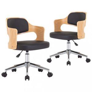 Otočné jídelní židle 2 ks Dekorhome Černá / světle hnědá