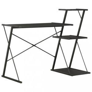 Psací stůl s policemi dřevotříska / ocel Dekorhome Černá
