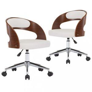 Otočné jídelní židle 2 ks Dekorhome Bílá