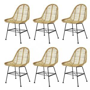 Jídelní židle 6 ks přírodní ratan Dekorhome Přírodní