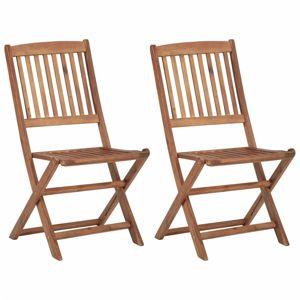 Skládací zahradní židle 2 ks akáciové dřevo Dekorhome Hnědá