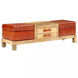 Úložná lavice pravá kůže / mangovník Dekorhome