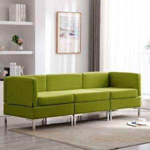 Sedací souprava 3dílná textil Dekorhome Zelená