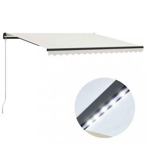 Ručně zatahovací markýza s LED světlem 400 x 300 cm Dekorhome Krémová