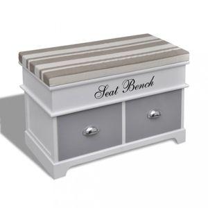 Úložná lavice bílá / šedá Dekorhome