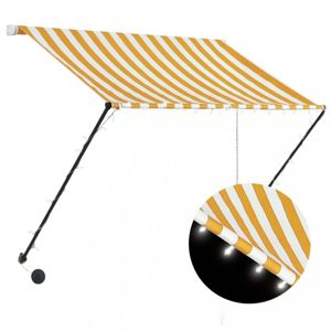 Zatahovací markýza s LED světlem 200x150 cm Dekorhome Bílá / žlutá