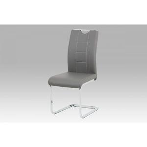Jídelní židle šedá koženka / chrom DCL-411 GREY Autronic