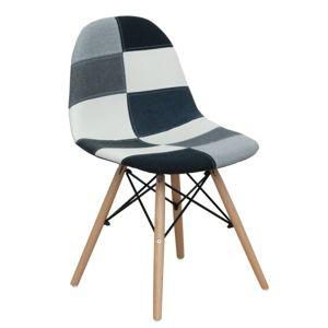 Jídelní židle CANDIE 2 NEW TYP 2 látka / buk Tempo Kondela Patchwork bílá / černá