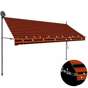 Ručně zatahovací markýza s LED světlem 350 cm Dekorhome Hnědá / oranžová