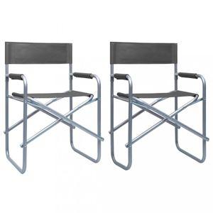 Režisérské židle 2 ks ocel Dekorhome Šedá