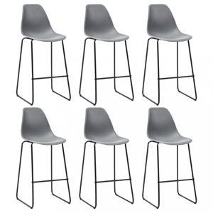 Barové židle 6ks plast / kov Dekorhome Šedá