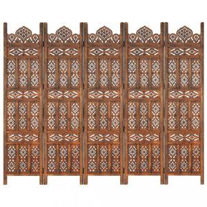 Dřevěný paraván 5dílný Dekorhome Hnědá
