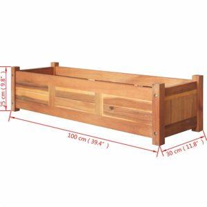 Zahradní truhlík akáciové dřevo Dekorhome 100x30x25 cm