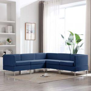 Sedací souprava 5dílná textil Dekorhome Modrá