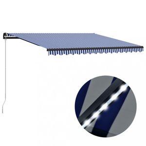 Ručně zatahovací markýza s LED světlem 400 x 300 cm Dekorhome Modrá