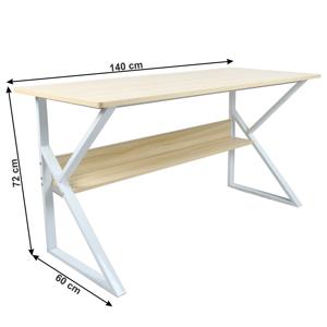 Pracovní stůl s policí TARCAL dub / bílá Tempo Kondela 140x60 cm