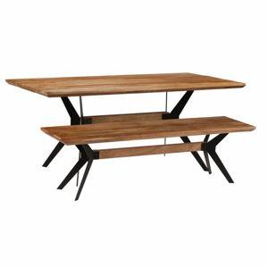 Jídelní stůl a lavice hnědá / černá Dekorhome