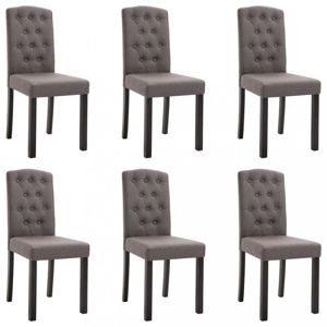 Jídelní židle 6 ks látka / kaučukovník Dekorhome Šedohnědá