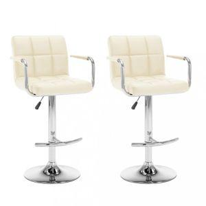Barové židle 2 ks umělá kůže / kov Dekorhome Krémová
