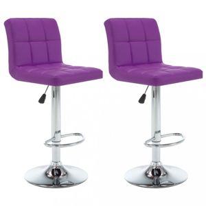 Barové židle 2 ks umělá kůže / kov Dekorhome Fialová